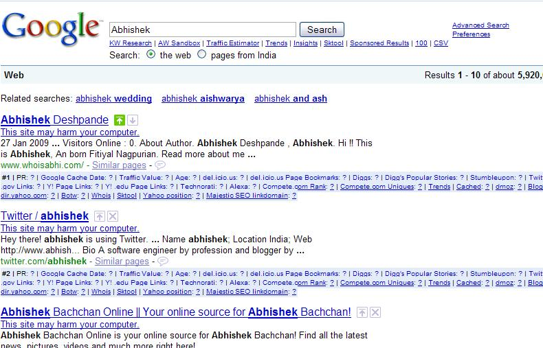All Site are Harmfull in Google Search